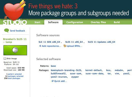 5 things we love/hate about Novell's SUSE Studio