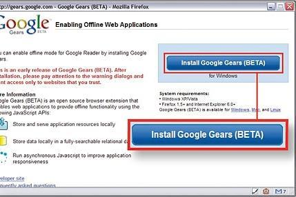 Take Google Gears for a test spin with Google Reader