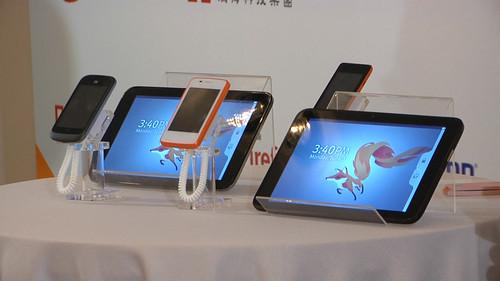 A Firefox-based prototype tablet and phones on show at a Taipei news conference on June 3, 2013.