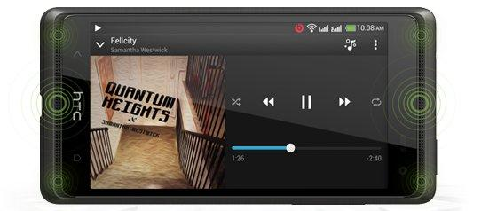 """The Desire 600 has dual-stereo speakers that sit above and below the display, called """"BoomSound""""."""