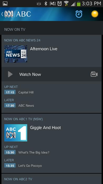 Users can watch live streams of the ABC News 24 channel.