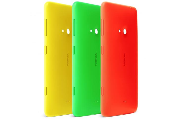 The Lumia 625 features changeable covers. A bonus orange cover (far right) will be included with all Australian sales.