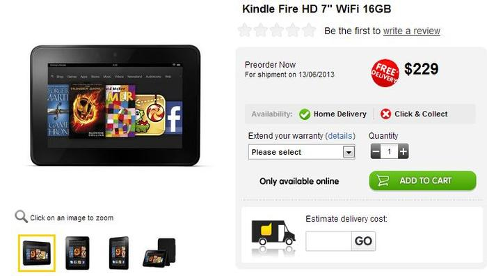 The Kindle Fire HD tablet, as it appears on the Dick Smith website.