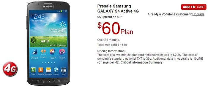 The Samsung Galaxy S4 Active is available to order now on Vodafone's Web site.