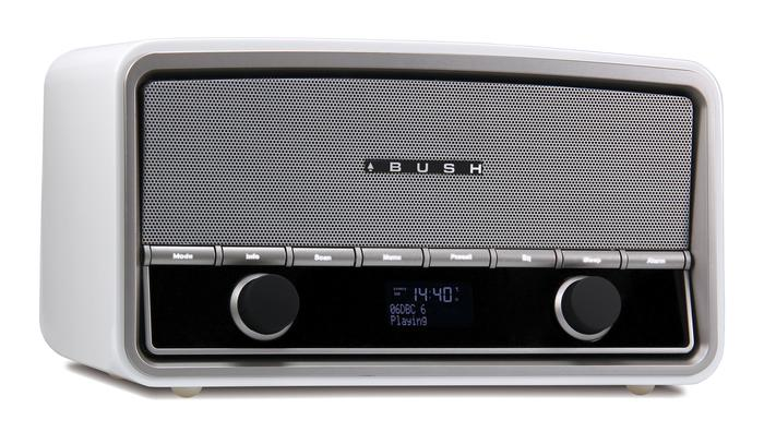 The Bush Heritage DAB+ digital radio, in high-gloss, piano white.