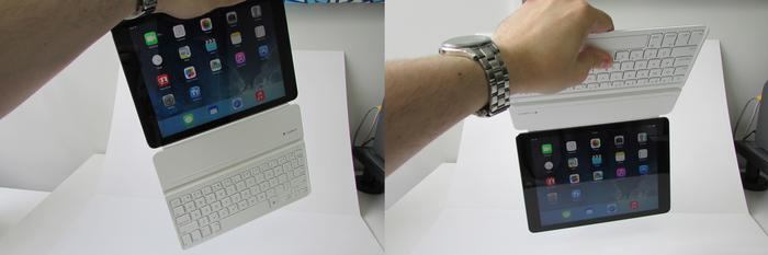 It's possible to shake the iPad and cover apart, but in normal use they stay clamped safely together.