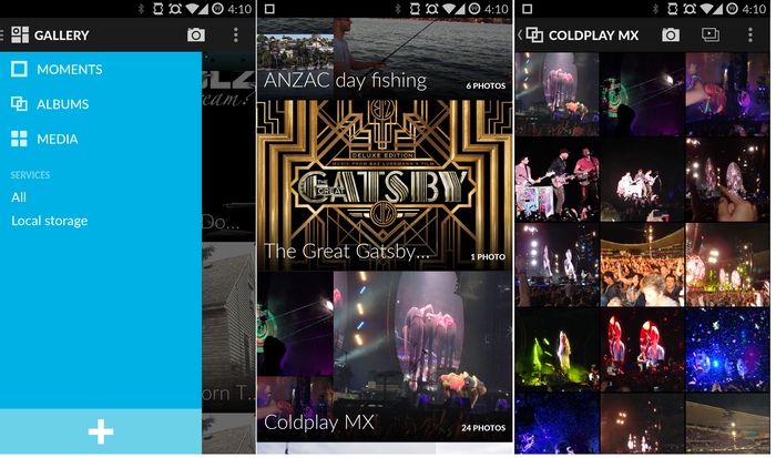 A well designed image gallery links to online albums from a variety of social networks