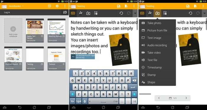 The SuperNote application combines superior note-taking with photos and recordings