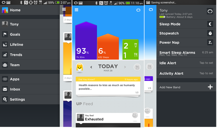 Swipe left for settings; the summary screen; right for modes