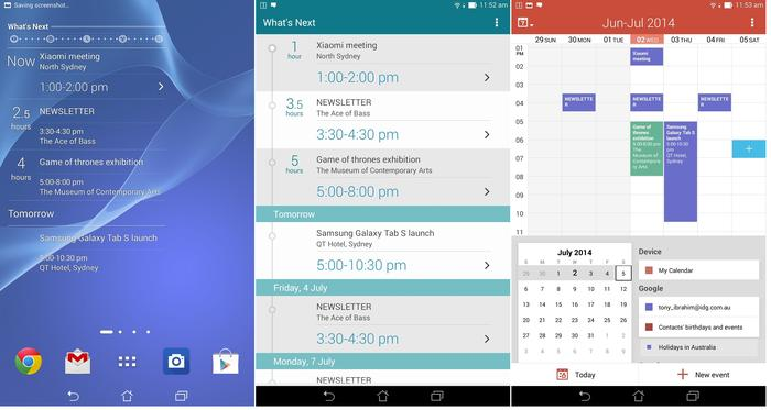What's next as seen from the homescreen, the application and your calendar