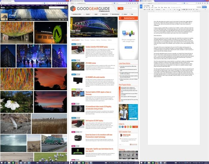 Here's what Web pages (the first and second screens in the shot) and docs (the third screen in the shot) look like when the monitor is in 1080x2560, portrait mode.