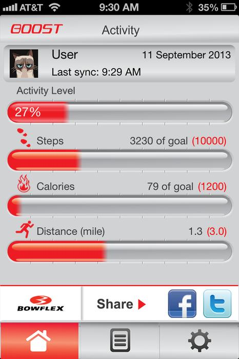 The activity screen shows your fitness progress.