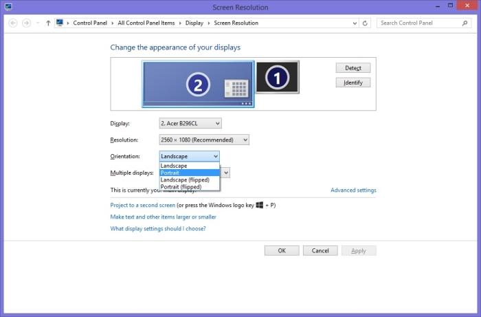 You have to manually change the orientation in Windows if you pivot the screen.