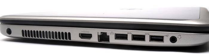 The left side has the cooling vent, HDMI, Gigabit Ethernet, two USB 3.0 ports and one USB 2.0 port.
