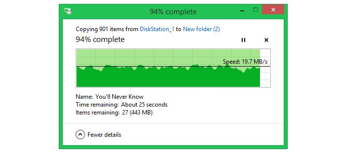 Transferring small files (8.4GB worth of MP3s and FLAC files) across a 15m distance.