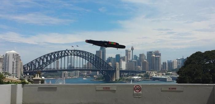 Here it is airborne with Sydney harbour in the background. Our poor piloting meant we couldn't get a nice angled shot of it. You'll have to make do with the side view for now.
