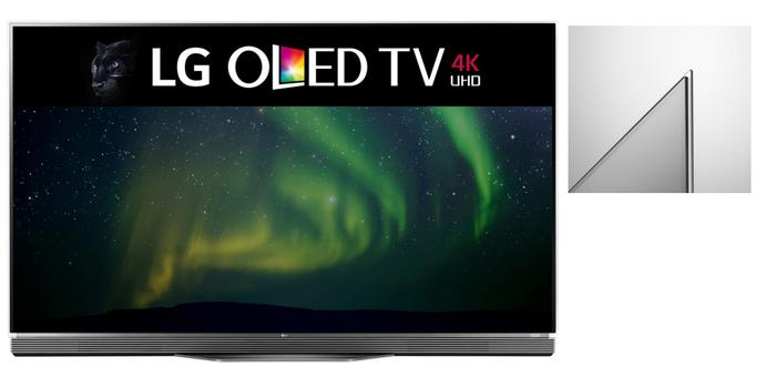 The LG OLED 2016 E-Series is mounted on glass and has a sound bar.