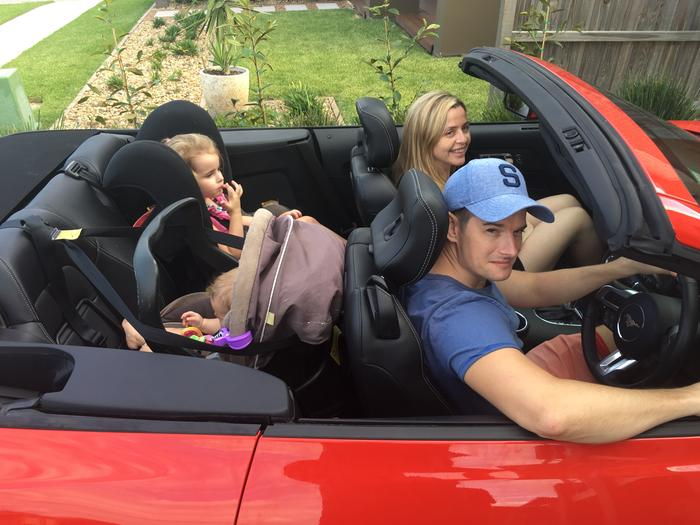And here you have a family of four. Just note how little room the driver has thanks to the baby capsule.