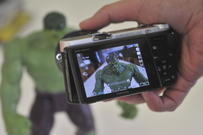 Focus peaking comes in handy when using manual focus, as it shows you where the focus is (the white stuff on Hulk's head).