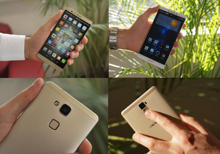 Huawei's Mate7 (left) was released late last year. Oppo's R7 Plus (right) bears a strong resemblance to it.