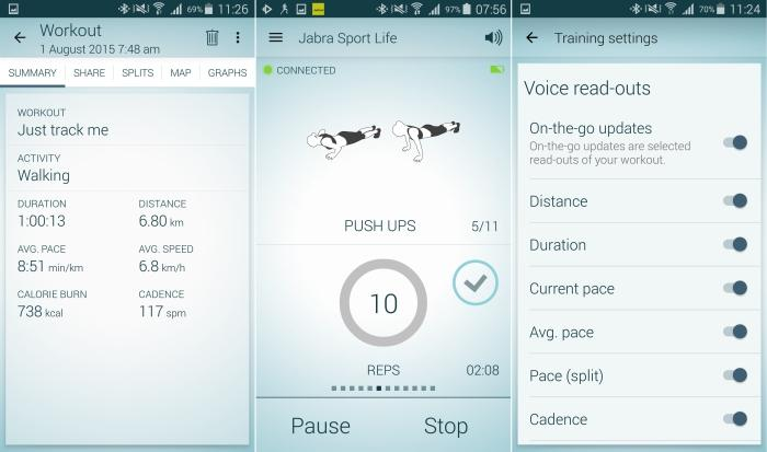 From left to right: the workout summary, one of the cross-fit activities, customisable voice readouts.