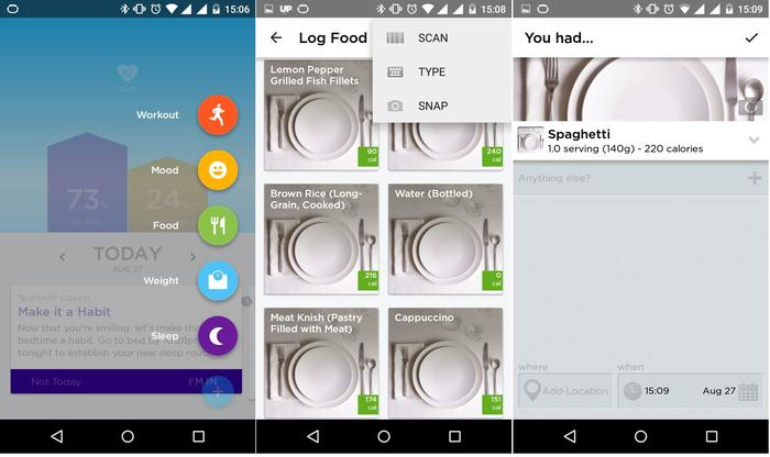 1. Items can be logged from the home screen; 2. The food selection menu; 3. Each meal's nutritional information.