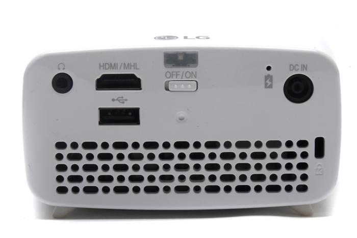 Rear features include 3.5mm stereo output, HDMI, USB 2.0, power, a Kensington lock, a power switch, and an air vent.