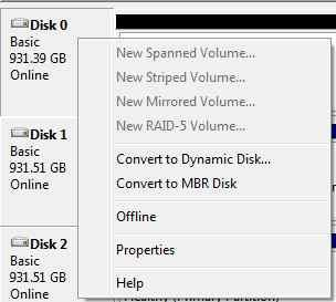 Changing to an MBR partition through Windows 7's Drive Manager. (We're using a 1TB drive in the screenshot as an example only.)