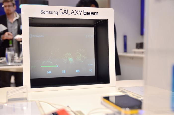 The Samsung Galaxy Beam on display at the company's new experience retail store in Sydney.