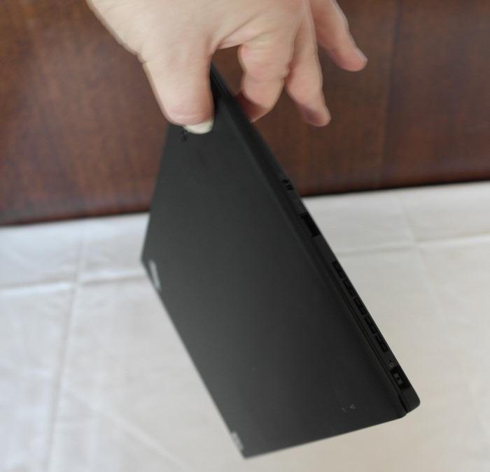 A non-slip surface and a light weight means you can hold the Ultrabook with two fingers, if you so choose.