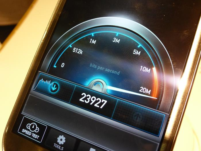 The speedtest app in action of the Samsung Galaxy S III 4G.