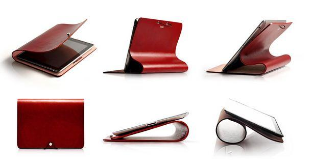 Some of the various angles the Leather Arc Cover for iPad can sit at.
