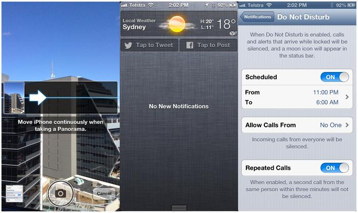 From left to right: Panorama photos, Facebook posts from the notifications screen and configuring the 'Do Not Disturb' feature.