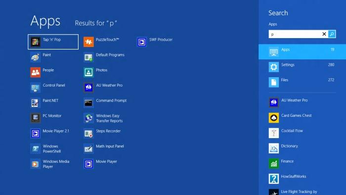Searching for files and programs in Windows 8 is simple: just start typing from within the Start screen in order to bring up the search box.