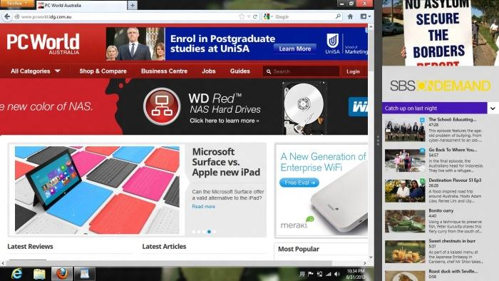 Here you can see that we have used the Snap feature to place the SBS On Demand app on the right side of the screen, while the left side of the screen shows the Desktop, where we are browsing the Web in Firefox.