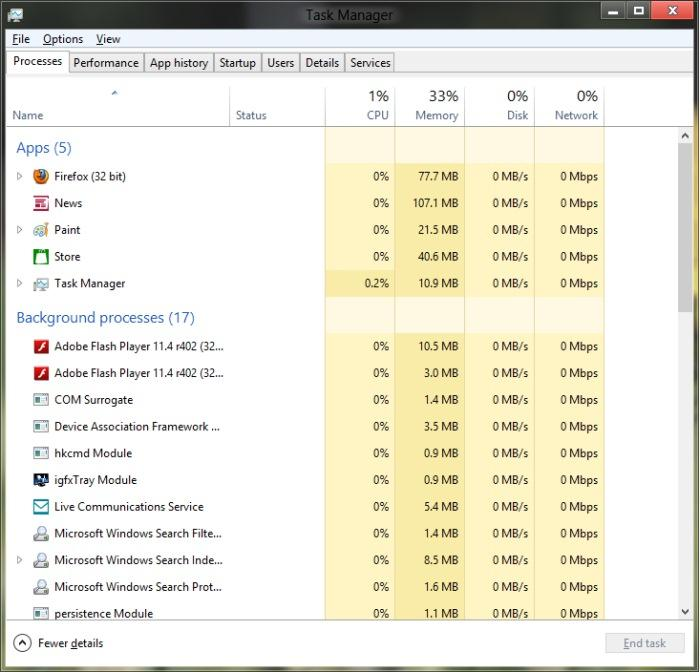The new Task Manager now shows disk and network usage.