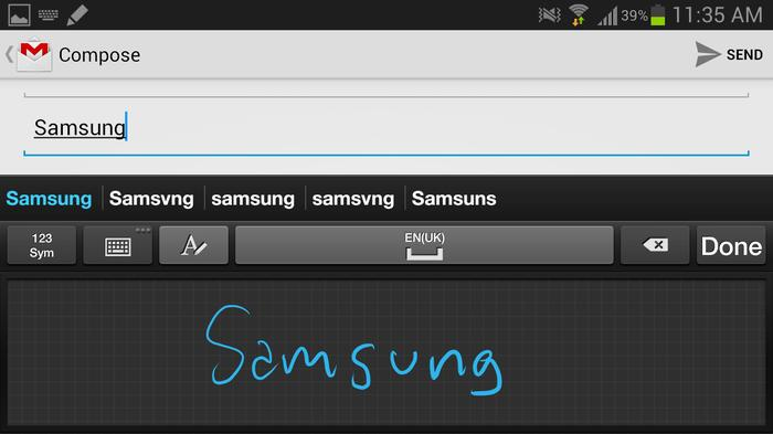 Handwriting recognition is significantly improved on the Galaxy Note II.