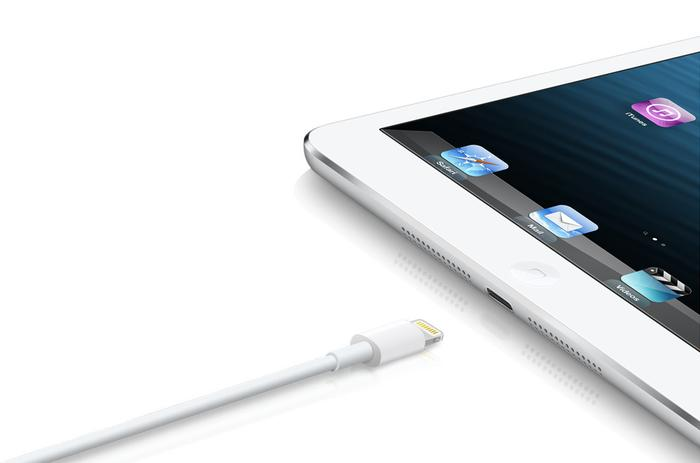 The iPad mini features the new 8-pin Lightning port, first introduced on the iPhone 5.