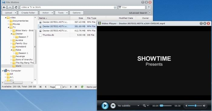 File Station allows you to download BitTorrent files direclty onto the NAS, and there is even a built-in video player.