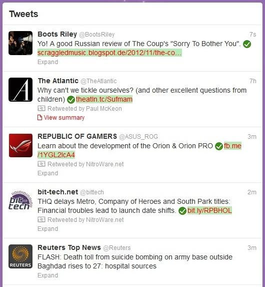 Links in Twitter are actively checked by the software.