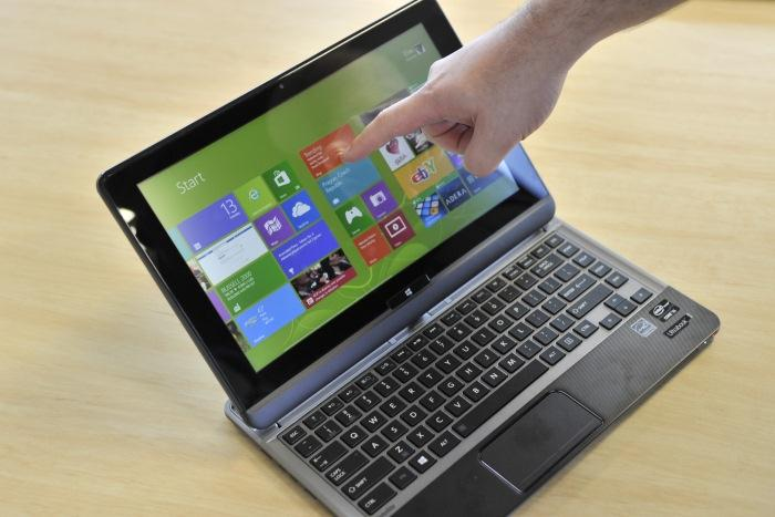 The touchscreen is best to use when exploring the Windows Start screen interface and new-style Windows 8 apps.