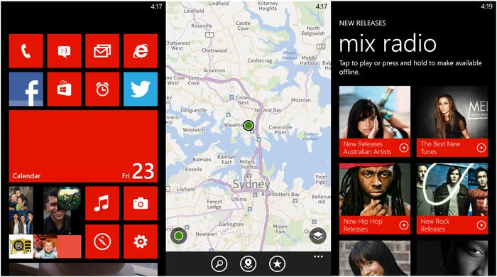 The Windows Phone 8 home screen, Nokia Maps and Nokia Music apps.