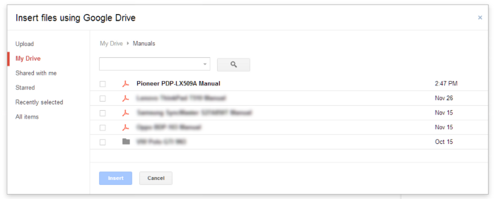 After selecting the Drive option under the attachments icon, a prompt displays the contents of a user's Google Drive.