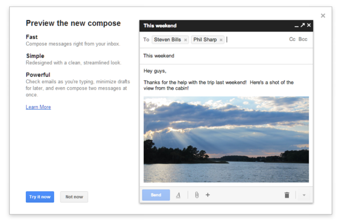 The new, currently optional, Compose screen in Gmail.