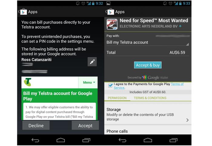 Purchasing an app from the Google Play Store through a Telstra mobile account.