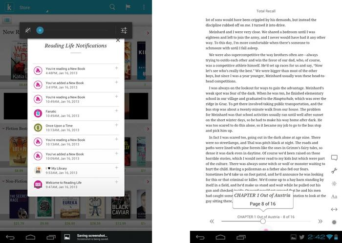 The Kobo Store's Reading Life notification screen, and the interface when you're actually reading a book, with the menu system and progress bar temporarily displayed.