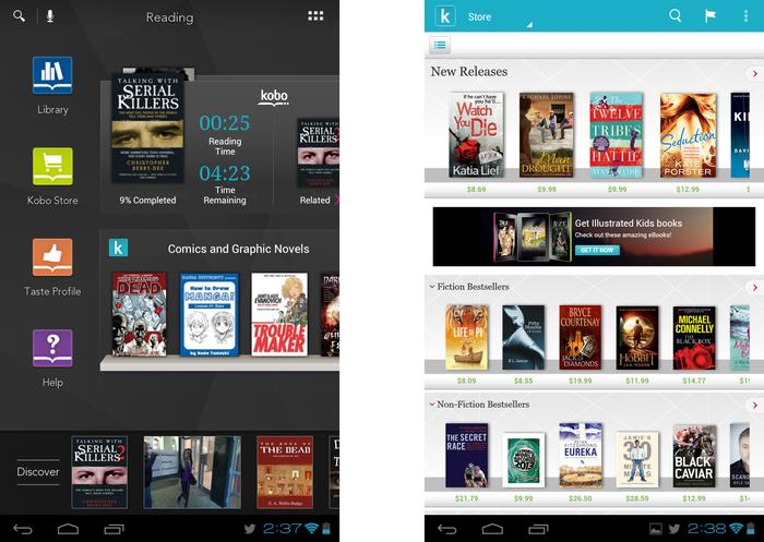 The Tapestries interface opened to display the Reading tab, and the Kobo Store app's main menu.