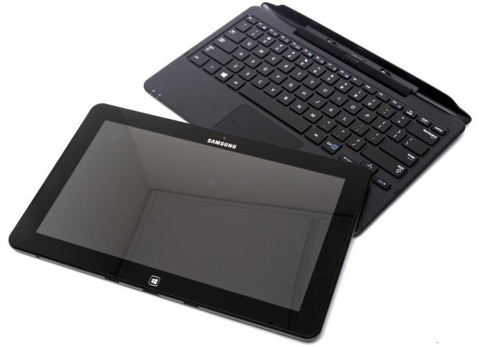 Samsung's Ativ Smart PC Pro tablet sits separated from its keyboard dock.