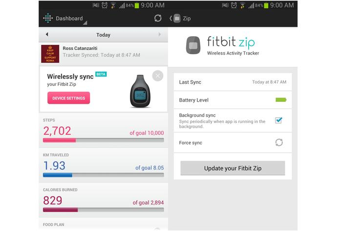 The updated Fitbit Android app, showing the wireless sync feature.