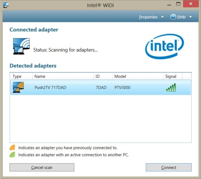 The Intel WiDi interface had no problems finding the Push2TV adapter.